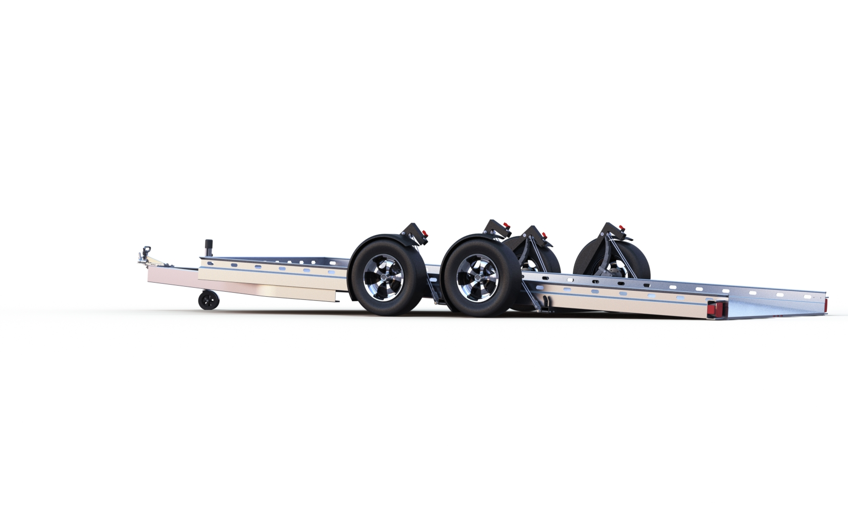 Side view of Futura trailer with double axel lowered to ground for easy roll on/off for vehicles.