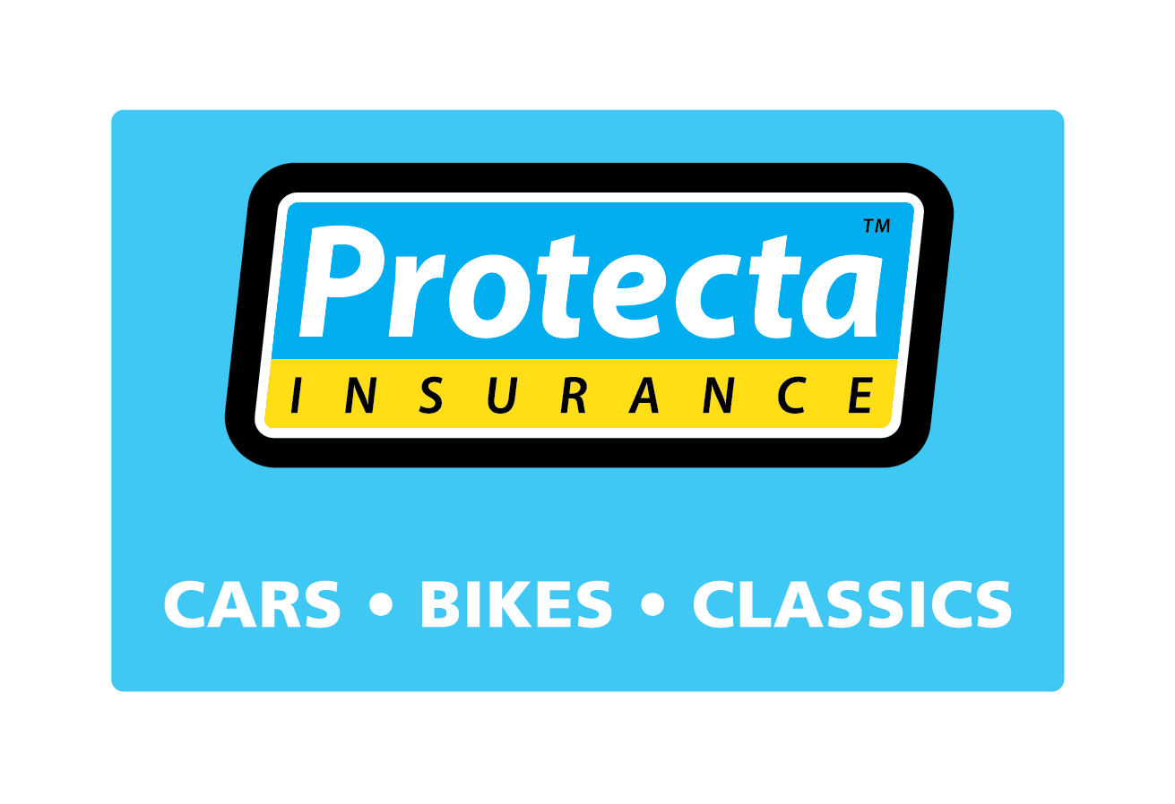 Protecta Insurance blue background graphic for cars, bikes and classics