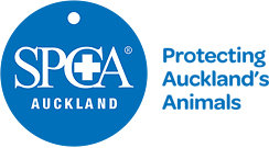 SPCA Auckland white text on blue disc - Protecting Aucklands Animals