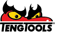 Red dragon with yellow eyes peering over Teng Tools text